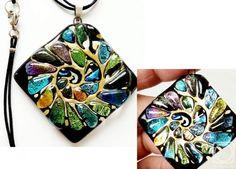 "Repina Elena. Dichroic glass pendant ""Nautilus"" fusing"