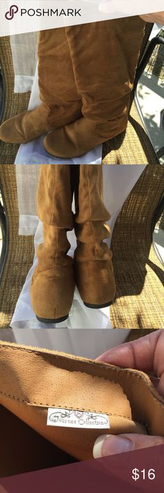 Light. Down micro suede scrunch boots Soft light weight. Gently worn by me. Very good condition. Size 10. Caramel color. Rubber sole with very small heel. Smoke free clean home with a shed free pooch. Smooch! Journee Collection Shoes Winter & Rain Boots