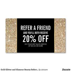 Gold Glitter and Glamour Beauty Salon Referral Card Double-Sided Standard Business Cards (Pack Of 100)
