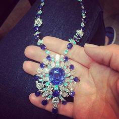 High jewellery #medallion @davidmorrisjeweller #burma #sapphire #cushioncut #paraibatourmaline