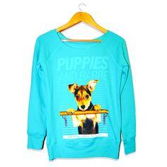 Puppies & Barre | Teal Wide Neck Sweatshirt