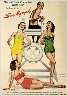 1948 swimsuit ad Sea Nymph...Im liking the green one.