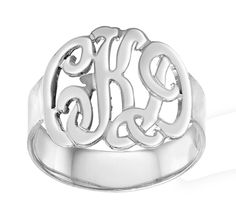 Designer Personalized Initials Ring (Order Any Name) - Sterling Silver. $59.00, via Etsy.