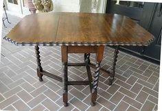 English Antique Oak Gate Leg Barley Twist Drop Leaf Dining or Side Sofa Table