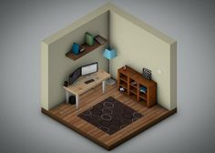 A quick #isometric room I put together this morning. #cinema4d #c4d #dribbble #dribbbleinvite #creative #3d #modeling #office by motus_design