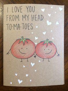 I love you from my head tomatoes card #boyfriendbirthdaygifts