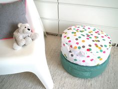 Floor Cushion Ottoman Pouf - Colorful Confetti Dots Toddler Floor Cushions Pouf - Nursery Kidsroom Decor - Yoga Meditation Cushion - Home Decor  Ready to ship in 3/5 days  This ottoman is so cute for nurseries and kids room decor. Made in cotton canvas and a handle for easy lifting and carrying. This fabric has a anti stain treatement! Its very comfortable and stylish to your home decor!  The ottoman have an invisible zipper on the bottom for you can stuff it easily. Seams serged for dur...