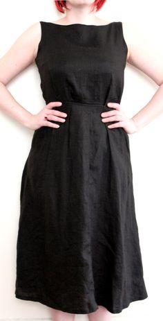 Breeches Vintage 1960's Black Linen Shift Dress $40.00