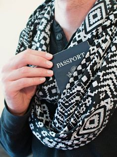 """""""On any given travel day, you'll find us wearing our Speakeasy travel scarves, which have a hidden pocket where we keep our phones and passports,"""" say travel bloggers Randy Kalp and Bethany Salvon. """"We also like ExOfficio underwear, which is designed to be easily packed, washed, and dried while on the go. To carry it all, we use the Tom Bihn Packing Cube Backpack, which doubles as a daypack or market bag."""""""