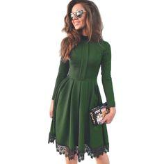 Vintage Winter Women Party Elegant Dresses robe 2016 Sexy Dark Green Turtleneck Long Sleeve Lace Dress