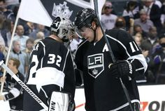 Jonathan Quick and Anze Kopitar Los Angeles Kings My two favorite players in the whole world! Jonathan Quick, La Kings Hockey, Los Angeles Kings, Nhl, Motorcycle Jacket, Celebrities, Sports, Buffalo, Life