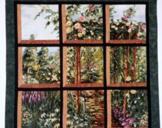 Items similar to Fabric Wall Hanging - Attic Window of Rose Arbor Park Path with Flowers on Etsy Beginner Quilt Patterns, Modern Quilt Patterns, Quilting Patterns, Quilting Designs, Attic Window Quilts, Rose Arbor, How To Finish A Quilt, Panel Quilts, Through The Window