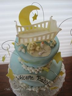 Baby shower cake - I think if I'm having a boy, I will do a moon and stars theme with something similar to this.