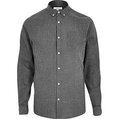 Grey cracked print textured shirt