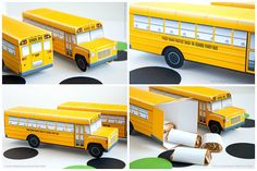 School Bus Favor Box DIY Printable Yellow Bus by PiggyBankParties