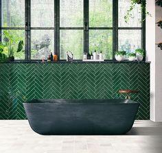 Harmony Jade Glossy wandtegel vintage look cm groen glans Exterior Design, Interior And Exterior, Loft Bathroom, Bathrooms, Ceramic Texture, Clawfoot Bathtub, Kitchen Interior, Vintage Looks, Home And Living
