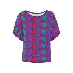 Love Hearts Women's Batwing-Sleeved Blouse T shirt (Model Batwing Sleeve, Bat Wings, Love Heart, Hearts, Blouse, Sleeves, Model, T Shirt, Tops