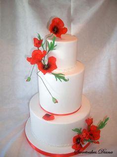 Wedding cake poppies by Sweetcakes.Diana (Diana Aluas) - http://cakesdecor.com/cakes/245597-wedding-cake-poppies