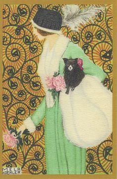 Mela Koehler postcard, from theWiener Werkstatte (Vienna Workshop), date from 1907-1920.