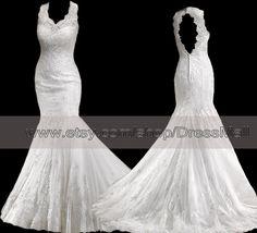 Scallop Lace Backless Wedding Dress Mermaid Key Hole by DressMall, $289.99