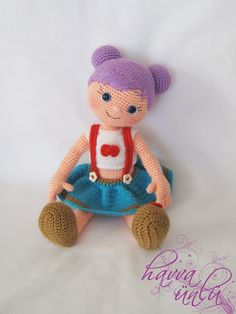 PATTERN - Purple-Haired Doll (crochet, amigurumi) Let op het haar!!!
