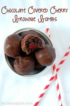 Chocolate Covered Cherry Brownie Truffles Recipe. OMG, these look amazing!