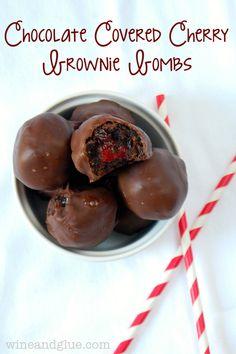 Chocolate Covered Cherry Brownie Truffles Recipe!