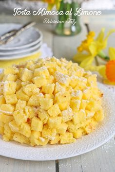 Torta Mimosa al Limone Biscotti, Finger Foods, Italian Recipes, Cantaloupe, Macaroni And Cheese, Food And Drink, Ethnic Recipes, Sweet, Desserts
