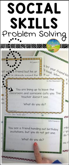 Social skills problem solving task cards for different scenarios and situations