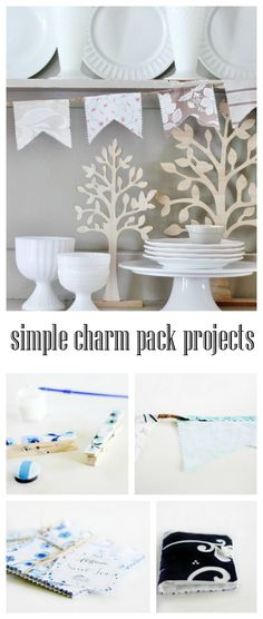 simple charm pack projects from thistlewoodfarms.com---cute charm pack use ideas.