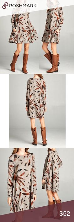 """🆕 Mocha patterned dress w long sleeves & pockets Mocha patterned long sleeve dress with hidden pocket  Features: easy to wear, pull over style Made in USA Material: 95% polyester, 5% spandex Has hidden pocket Looks great with long boots or you can also wear leggings with booties Lightweight has Little stretch  Measurements:   Small (S): Armpit to Armpit: 17"""" Length: 34""""  Medium (M): Armpit to Armpit: 18"""" Length : 34.5""""  Large (L): Armpit to Armpit: 19"""" Length: 35""""  Extra-Large (XL): Armpit…"""