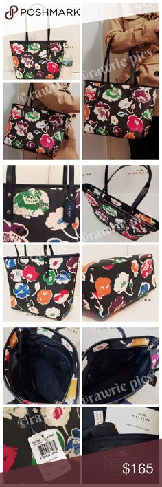 """New Coach black wildflower floral city zip tote 100% authentic. Black multicolor floral coated canvas with leather trim. Zip top closure and fabric lining. Inside zip and slip pockets. Handles drop 10"""". Measures 16""""top/11""""bottom x 10"""" (H) x 5.5"""" (W). Brand new with tags. Comes from a pet and smoke free home. Coach Bags Totes"""