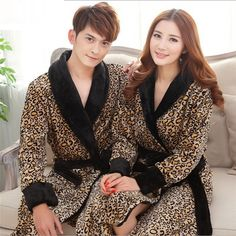Leopard Print Flannel Lovers Bathrobes Robe Male Women Night Gown Thicken Coral Fleece Pajamas Sleepwear Lounge Kimono Feminino * Click image for more details.