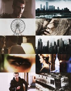 Divergent Movie Stills. Four (played by Theo James). The city skyline. The Ferris wheel. Tris Prior (played by Shailene Woodley), and the train.