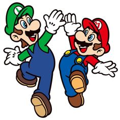 Mario and Luigi give each other a high five
