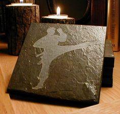MARTIAL ARTS COASTERS - Carved Natural Slate Stone - karate jujutsu judo taekwondo. $29.00, via Etsy.