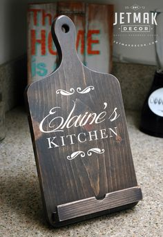 Personalized Cutting Board iPad Stand, Tablet Stand, Wooden Kindle Stand, Handmade