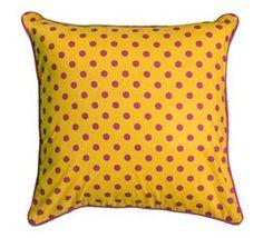 Pink and yellow polka dot pillow - DEQOR.com