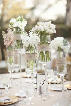 Simple and elegant - great centerpiece idea, ADORE these & so easy (and budget friendly!)
