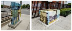 "Mississauga Box Wraps! This ""tester"" wrapped utility boxes for the city of Mississauga with anti-graffiti laminate were completed by Speedpro Imaging QEW & 427. The graphics are archival historical photos of the intersection that the box is placed in...very cool idea!"