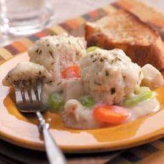 Drop dumplings, turkey, gravy, peas and carrots...good winter food.
