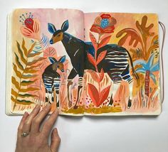 Sweet deer in nature by Sarah Walsh ( What is your favorite animal to draw/paint? Inside Art, Sketchbook Inspiration, Sketchbook Ideas, Artist Sketchbook, Plant Illustration, Gouache Painting, Floral Illustrations, New Art, Watercolor Art