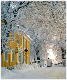 Yellow House in Snowy Sweden by Lellepelle on flickr