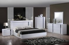 Discover contemporary styling with the Jody Platform Bedroom Set by Global Furniture. Featuring horizontal lines in the details of the panel headboard with reflective accents for extra appeal. Matching case piece fronts finished in a high gloss white also Master Bedroom Set, White Bedroom Set, 5 Piece Bedroom Set, Bedroom Bed Design, Glass Bedroom Furniture, White Furniture, Kitchen Furniture, Furniture Usa, Wicker Bedroom