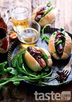 Australia Day Recipes: Transform classic sausages into a creative dish worth flying the flag for. Delicious Sandwiches, Wrap Sandwiches, Food Photography Styling, Food Styling, Bagels, Hot Dogs, Aussie Food, Delicious Magazine, Beer Recipes