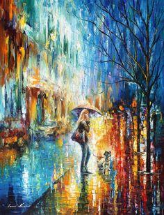 Stroll With a Friend — PALETTE KNIFE Oil Painting On Canvas By Leonid Afremov #AfremovArtStudio #afremov #art #painting #fineart