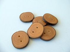 New  Slim Handmade Wood Buttons  6 large by forestinspiration, $8.00