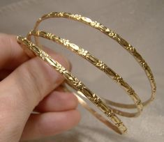 3 Yellow Gold Bangle Bracelets with Floral Motif by FionaKennyAntiques on Etsy Gold Chain Design, Gold Bangles Design, Jewelry Design, Gold Jewelry Simple, Gold Jewellery, Saree Jewellery, Hand Jewelry, Diamond Jewelry, Unique Jewelry
