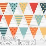Autumn  #Digital Bunting  #Orange #Blue #Red