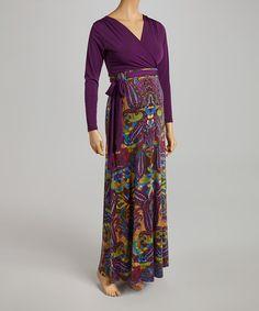 Look at this #zulilyfind! Eggplant & Green Maternity Maxi Dress #zulilyfinds